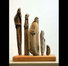 Conversation - Susan Clinard .  Found, carved wood figures.