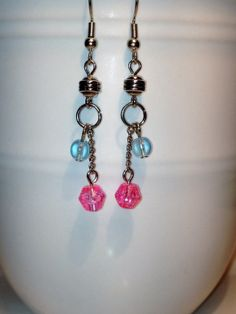 Pink Glitter Beads with Small Blue Bead by DJEarringCreations, $8.00