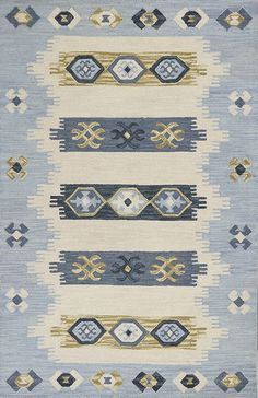 KAS Rugs Lisbon x Rectangle Wool Hand Hooked Southwester Ivory / Blue Home Decor Rugs Area Rugs Purple Area Rugs, Light Blue Area Rug, Beige Area Rugs, Southwestern Area Rugs, Hand Tufted Rugs, Geometric Rug, Joss And Main, Rug Runner, Ivory