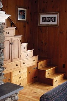 """Cabin"" stairs and storage that I would have in my house."