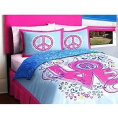 Love Peace Sign Reversible Girls Kids Full Comforter Bed In A Bag Set by Morgan Teen, http://www.amazon.com/dp/B004D8L356/ref=cm_sw_r_pi_dp_jI4Rqb0P42J69