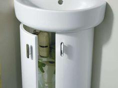 Modern Storage Ideas for Small Bathrooms with Pedestal Sinks Under Bathroom Sink Storage, Pedestal Sink Bathroom, Bathroom Sink Units, Corner Sink Bathroom, Bathroom Ideas, Under Pedestal Sink Storage, Bathroom Inspo, Basement Bathroom, Washroom