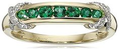10k Yellow Gold Created Emerald and Diamond Accented Band Ring Size 7 *** See this great product.Note:It is affiliate link to Amazon.