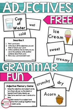 New children study grades 20 Ideas Parts Of Speech Activities, Adjectives Activities, 2nd Grade Activities, Grammar Activities, Writing Activities, Grammar Games, Free Activities, 2nd Grade Grammar, 2nd Grade Ela