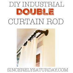 DIY industrial double curtain rod