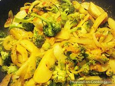 How to make Indian Style Potato (Aloo) Broccoli Curry | Easy Indian Cooking Recipes