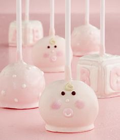 Baby Girl Cake Pops - great idea for baby showers