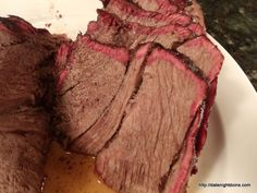 Roast Beef Slow Smoked Six hours in the Louisiana Wood Pellet Grill/Smoker. Look at those smoke rings. Patti couldn't believe that after smoking something for 6 hours it could be so tender and juicy with big, rich smoky beef flavor. Patti served it up wi Smoked Beef Roast, Bbq Beef, Roast Beef, Bbq Grill, Roast Recipes, Grilling Recipes, Traeger Recipes, Wood Pellet Grills, Pellet Grill Recipes