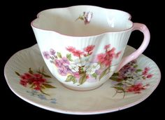 Shelley Cup And Saucer Stocks Dainty Shape Pink Trim Bone China