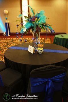 Fit For A Queen Black Royal Blue Turquoise Wedding Reception Table Setting