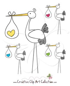 Cute Stork clip art clipart set from Creative Clip Art Collection. This set is perfect for baby shower themed parties, invitations, cupcake toppers and more. #clipart #babyshower #stork #storks #illustration #scrapbooking #craft