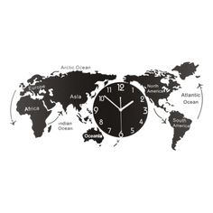 Large Modern Wall Clock - Mörkma Black | The Fancy Place 3d Wall Clock, Hanging Clock, Clock Art, World Clock, World Map Wall, Minimalist Wall Clocks, World Map Design, Large Clock, Art Mural