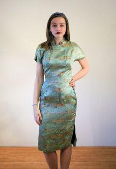 Xinyi 50er Jahre Mint Grün Cheongsam Kleid von MorningGlorious