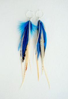Deep Blue Sea Feather Earrings by MayflyJewelry on Etsy