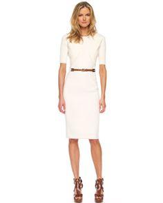 Michael Kors Merino Half-Sleeve Shrug & Belted-Waist Sheath Dress