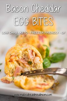 These Bacon Cheddar Egg Bites are freezer friendly, keto-approved and are a cinch to make in the Instant Pot! Make up a bunch for meal prep or to freeze for easy, hot and healthy breakfasts on busy mornings! #keto #instantpot #freezerfriendly #freezermeals #bacon #eggs #easybreakfast #eggbites #makeahead #makeaheadmealmom