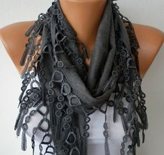 Gray Scarf    Pashmina Scarf   Headband Necklace Cowl by fatwoman, $13.50