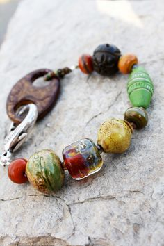 Mojito Bracelet - Handmade Beaded Lampwork Glass Wood Ceramic Silver Colorful