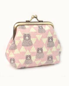 Bears triangle kiss lock coin purse Japanese fabric by Kkissmade