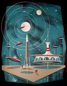 Details about el gato gomez retro jetsons outer space mid century modern fu Steampunk Illustration, Space Illustration, Retro Kunst, Retro Art, Mid Century Modern Art, Mid Century Art, Vintage Space, Vintage Art, Retro Futurism Art
