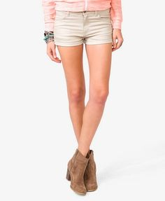 Forever 21 Colored Denim Shorts in Taupe $12.80 These are great because they are so well-priced that you can buy 5 of the taupe ones and use them for diy shorts!