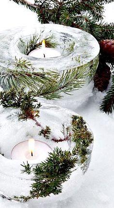 YULE☆Winter Solstice☆ Beautiful Ice Bowl Lanterns to make. Rustic Christmas, Winter Christmas, All Things Christmas, Christmas Holidays, Christmas Decorations, Xmas, Yule Decorations, Holiday Crafts, Holiday Fun