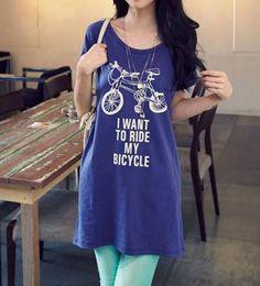 Loose Round Neck Short Sleeve Letter Blue Long T-shirt