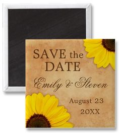 Elegant wedding save the date magnet with sunflowers on old stained paper