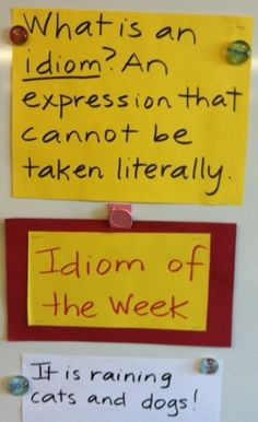 I just set this up in my room with magnets.. every week we'll study a new idiom! I think this will be especially helpful for my second language learners. :)