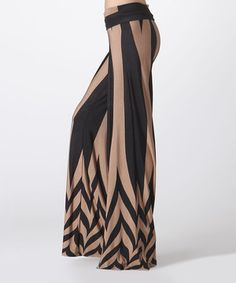 Look at this #zulilyfind! Black & Gold Chevron Palazzo Pants by BOLD & BEAUTIFUL #zulilyfinds