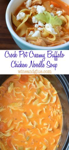 Crock Pot Creamy Buffalo Chicken Noodle Soup that is easy to throw together and SO delicious!