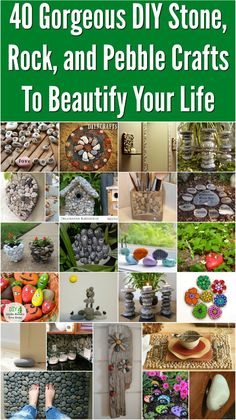 40 Gorgeous DIY Stone, Rock, and Pebble Crafts To Beautify Your Life {With tutorial links} I hope you're ready for fall! I've got a great collection of 40 DIY stone, rock, and pebble projects that are sure to get you into the decorating mood. I love these projects for fall because it's not too hot to go outside and gather up those stones, and fall is the perfect time for outdoor decorating. #diy #decor #upcycle #home…
