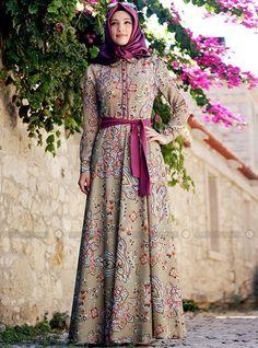 Vintage Desenli Elbise- Yeşil- Gamze Polat