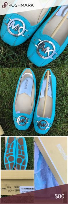 MK Aquamarine Fulton Moccasins Very rare color!! In great used conditions. Saffiano leather all around, which means they are hard leather, not flimsy. Size is 6M. Color is Aquamarine, very rare. Still has box. Scuffs here and there as seen in pics but no holes or rips! Still a lot of life left in them.                       🎀REASONABLE OFFERS WELCOMED🎀 Michael Kors Shoes
