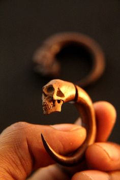 Fake Gauges Wood Earring Human Skull Carved on Wood by ayujewelry