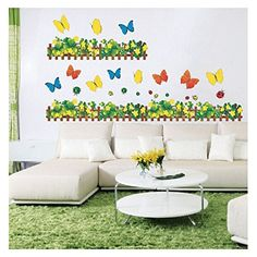 vinool bunte blumen pflanze schmetterling wandsticker wandtattoo f r sofa wohnzimmer. Black Bedroom Furniture Sets. Home Design Ideas