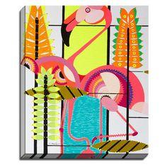 Bashian Lifestyle Flamingo Fun by Dominic Bourbeau Painting Print on Canvas & Reviews | Wayfair