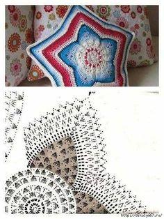 images attach d 1 132 151 Crochet Stars, Crochet Mandala, Crochet Round, Crochet Home, Love Crochet, Crochet Motif, Crochet Stitches, Knit Crochet, Crochet Patterns