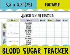 Blood Sugar Tracker  Printable For Health Medical Fitness
