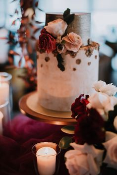 Delicate florals on a gold-brushed tiered wedding cake. See the full dark and elegant styled shoot for more wedding venue and styling inspiration on SingaporeBrides! Wedding Pics, Wedding Blog, Wedding Venues, Cake Models, Pastry Design, Wedding Stills, Waterfront Wedding, Cake Trends, Elegant Wedding Cakes