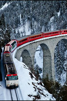 Swiss Railroad in the Alps