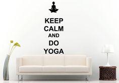 Keep Calm And Do Yoga Words Typography Saying Yoga Studio Wall Decal Vinyl Sticker Mural Room Decor L886