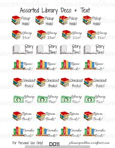 Library Decorative Reminders | Free Printable Planner Stickers from plannerproblem.wordpress.com. 11 different sheets available! Download them all at https://plannerproblem.wordpress.com/2016/06/21/library-decorative-reminders-free-printable-planner-stickers/