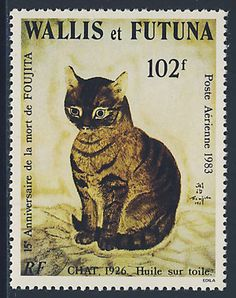 A cat painted by Foujita for a nice bit o' philately. Vintage Stamps, Vintage Cat, I Love Cats, Crazy Cats, Son Chat, Love Stamps, Cat Drawing, Stamp Collecting, Cat Art