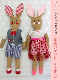 RACHEL & RAPHAELO - Girl and Boy Rabbit Toy Sewing Pattern (T1203)