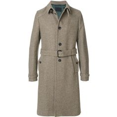Prada belted tweed coat ($3,920) ❤ liked on Polyvore featuring men's fashion, men's clothing, men's outerwear, men's coats, brown, mens brown coat, mens tweed coat, prada mens coat and mens belted trench coat