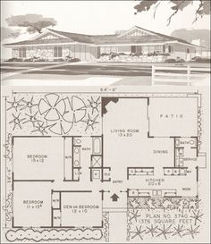 c. 1960 Ranch and Modern Homes by Hiawatha T. Estes, Plan No. 3740, 1,376 SF.  This plan reveals a hint of the Asian influence in the subtly curved roof and louvered window treatments. This plan is just a little over 1,300 square feet, but manages three bedrooms and a bath and a half.  The single full bath is well appointed with separate shower and tub as well as a double vanity.  The L-shaped open living room and dining area and kitchen with an eat-in nook look very functional.