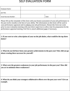 Employee Self Evaluation Template Vzwgpfa  Shella