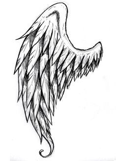 tattoo with one maybe two tattered feather angel wings..