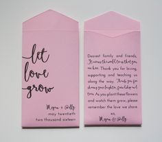 Let Love Grow Personalized Seed Packet Wedding Favors - Many Colors Available by Megmichelle on Etsy https://www.etsy.com/listing/235066875/let-love-grow-personalized-seed-packet #blushwedding #weddingtrends2017 #weddingsinspiration